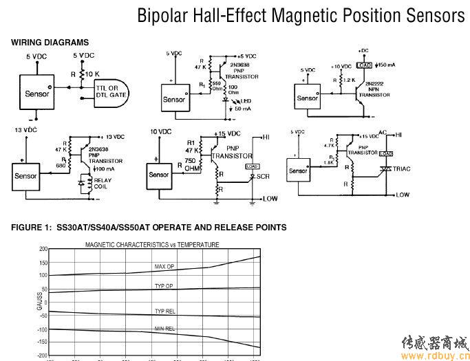 honeywell双极霍尔效应磁位置传感器电路示例